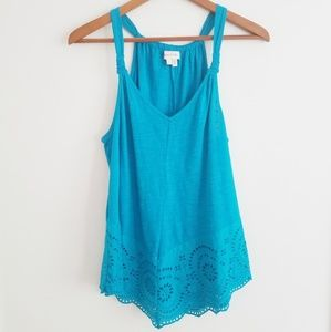 Anthropologie Meadow Rue Knotted Eyelet Tank S